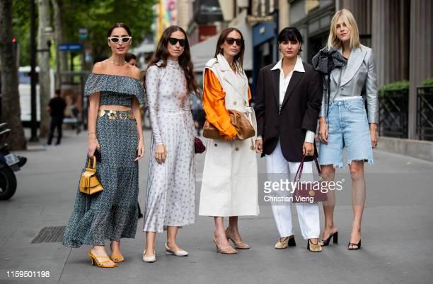 Géraldine Boublil is seen wearing grey off shoulder dress yellow bag Erika Boldrin Chloé Harrouche Maria Bernad Linda Tol outside Schiaparelli during...
