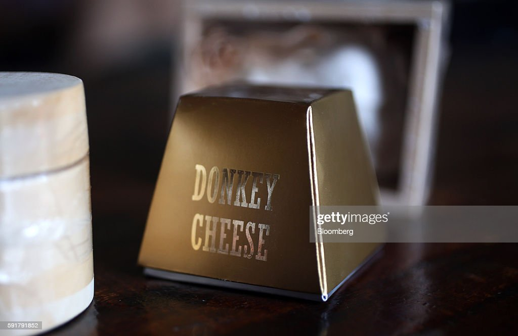 A 50 gram block of Serbian donkey cheese, locally known as pule, which retails for 50-70 euros sits in packaging at the Zasavica donkey farm in Zasavica, Serbia, on Wednesday, Aug. 17, 2016. Pule cheese is made from the milk of Balkan donkeys and is priced at 1100 euros per kilo and reported to be the world's most expensive cheese. Photograph: Oliver Bunic/Bloomberg via Getty Images