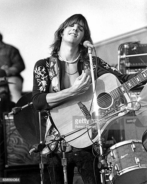 Gram Parsons originator of Country Rock music and member of The Flying Buritto Brothers plays at the Altamont Speedway Free Festival on December 6...