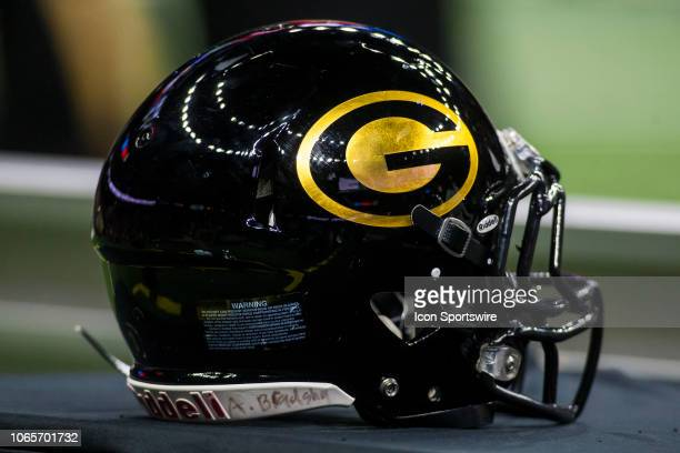 Grambling State football helmet sits atop an equipment stand during the 45th annual State Farm Bayou Classic game between the Southern Jaguars and...