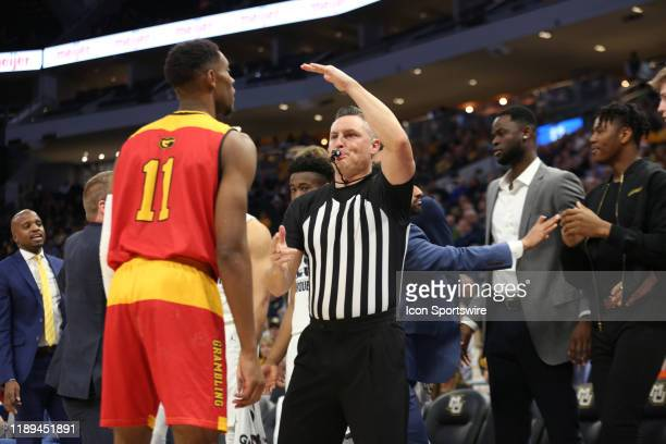 Grambling State Tigers guard Kelton Edwards gets a technical foul during a game between the Marquette Golden Eagles and the Grambling State Tigers at...
