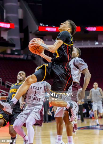 Grambling Tigers guard Ivy Smith Jr. Jumps up to make a shot during the SWAC basketball tournament game between the Texas Southern Tigers and...
