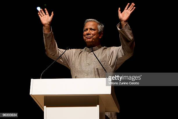 Grameen Bank Managing Director and Nobel Peace Prize Laureate Muhammad Yunus speaks during the lecture ' A world without poverty ' on February 1 2010...
