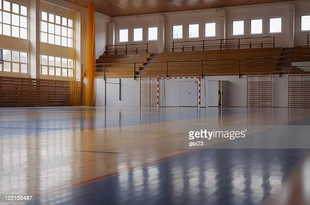 gymnasium - empty bleachers stockfoto's en -beelden