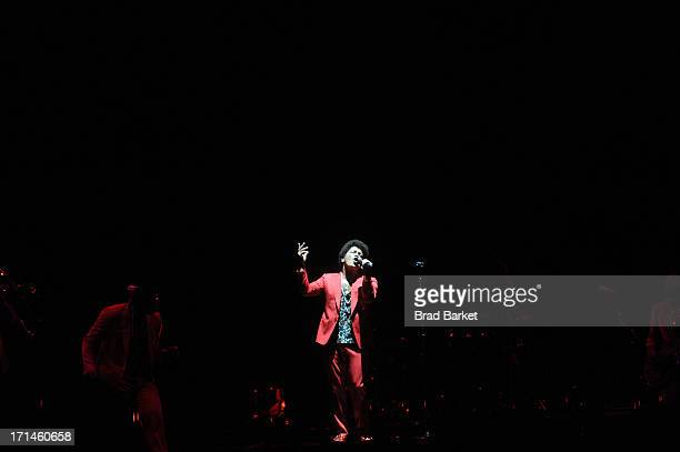 Grammy Award winner Platinum record producer and artist Bruno Mars performs at Wells Fargo Center on June 24 2013 in Philadelphia Pennsylvania