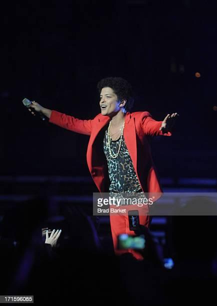 Grammy Award winner Platinum record producer and artist Bruno Mars performs at TD Garden on June 26 2013 in Boston Massachusetts