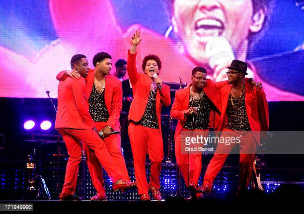 Grammy Award winner Platinum record producer and artist Bruno Mars performs at Barclays Center on June 29 2013 in New York City