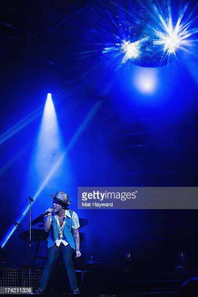 Grammy Award winner Platinum record producer and artist Bruno Mars performs at Key Arena on July 21 2013 in Seattle Washington