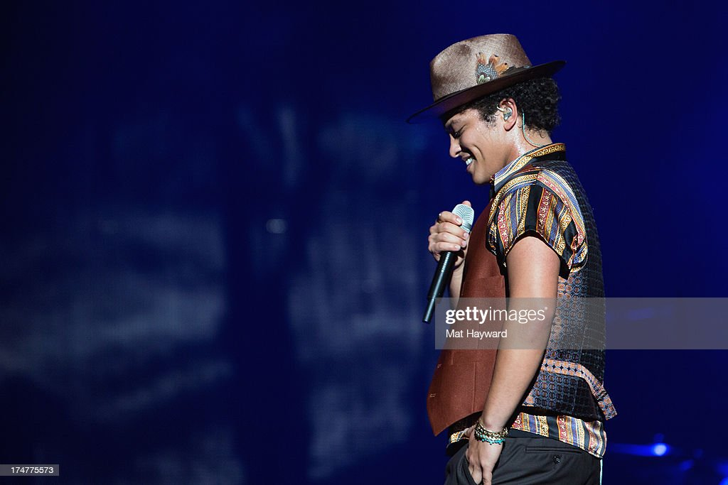 Grammy Award winner, Platinum record producer and artist Bruno Mars performs at Staples Center on July 28, 2013 in Los Angeles, California