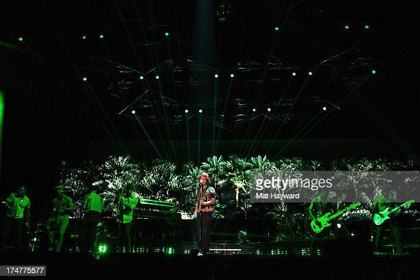 Grammy Award winner Platinum record producer and artist Bruno Mars performs at Staples Center on July 28 2013 in Los Angeles California