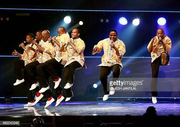 Grammy Award winners Ladysmith Black Mambazo perform at the International Convention Centre in Durban during the MTV Africa Awards on June 7 2014 AFP...