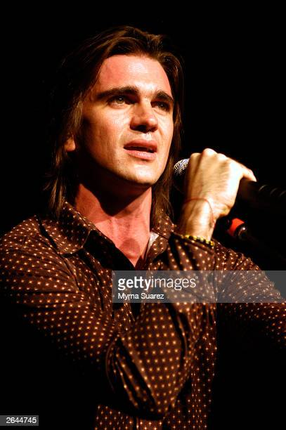 Grammy Award winning artist Juanes performs at The Theatre at Madison Square Garden October 24 2003 in New York City Juanes is touring in support of...