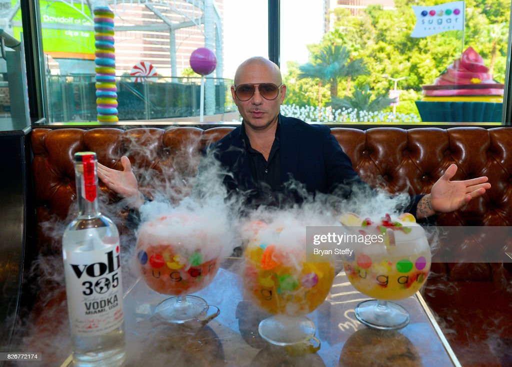 Grammy award winning artist Pitbull debuts his creations the 'Watermelon Patch (Meloncito 305)', the 'Fuzzy Peach Penguin Mango (The Tongue Twister)' and the 'Hot & Wild Spicy 305 Pineapple (Esto Esta De Pina)' made with Voli 305 at Sugar Factory American Brasserie on August 5, 2017 in Las Vegas, Nevada.