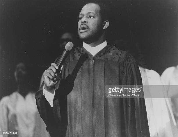Grammy Award winning singer Marvin Winans singing on stage during a performance of the play Dont Get God Started Oakland California 1987