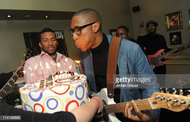 Grammy Award Winning Singer Raphael Saadiq is presented a birthday cake during his performance hosted by The Redbury Sony Cierge and Belvedere Vodka...