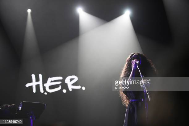Grammy Awards winner for Best R amp B Album category HER performs at the 2019 Java Jazz in Jakarta Indonesia on March 1 2019