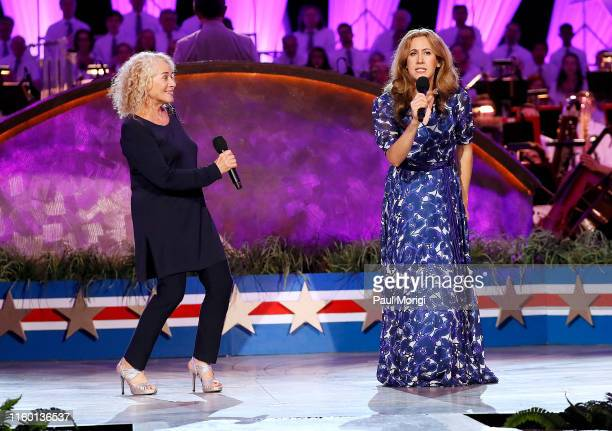 Grammy Awardwinning music legend Carole King on stage with Vanessa Carlton star of the Tony Grammy and Olivier Awardwinning musical BEAUTIFUL during...