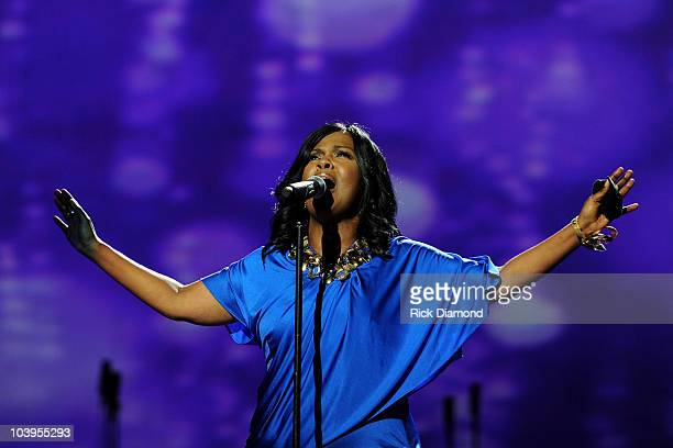 Grammy Award-winning singer and event co-host Cece Winans performs at Verizon How Sweet the Sound at the Toyota Center on September 9, 2010 in...