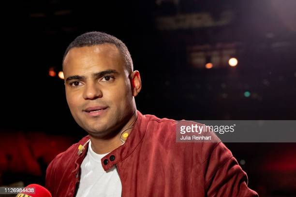 Grammy Awardwinning singer Mohombi Moupondo speaks to the press after advancing to the final in the first heat of Melodifestivalen Sweden's...