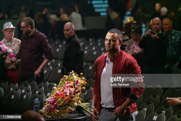 Grammy Awardwinning singer Mohombi Moupondo waits to meet the press after advancing to the final in the first heat of Melodifestivalen Sweden's...