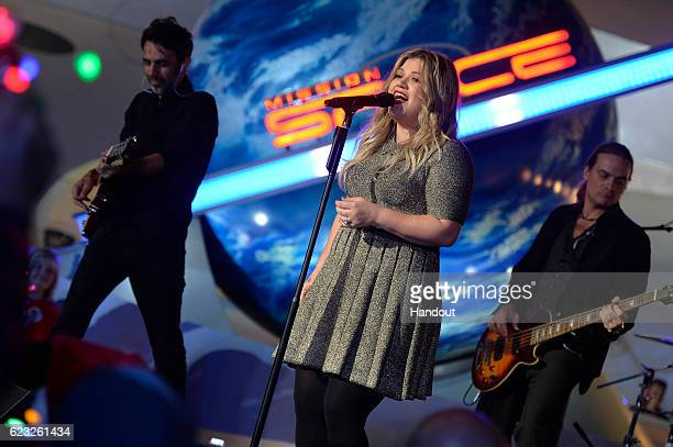 Grammy awardwinning singersongwriter Kelly Clarkson performs Nov 10 2016 while taping for one of three ABC and Disney Channel holiday TV specials...