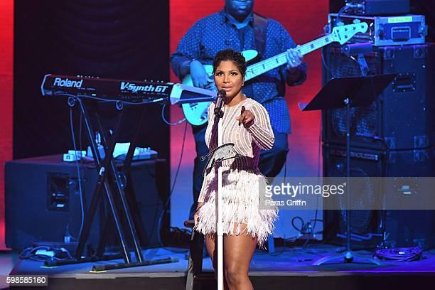 Grammy Award-winning singer/songwriter Toni Braxton performs the 2016 BMI R&B/Hip-Hop Awards at Woodruff Arts Center on September 1, 2016 in Atlanta,...