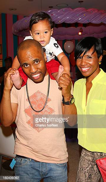 Grammy nominated producer/rapper Consequence his son Caiden and Consequence's sister Victoria Mills attend Caiden's First Birthday Party at Dylan's...
