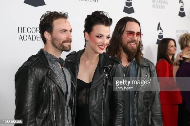 Grammy nominees Arejay Hale Lzzy Hale and Joe Hottinger of the band Halestorm attend the Nashville Chapter 61st Nominee Celebration on January 24...