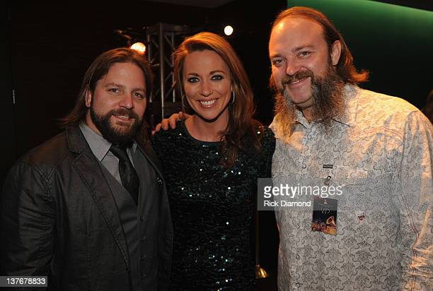 Grammy Nominees Coy Bowles and John Hopkins Zac Brown Band with CNN's Brooke Baldwin attend The Georgia GRAMMY Nominee Reception at W Atlanta...