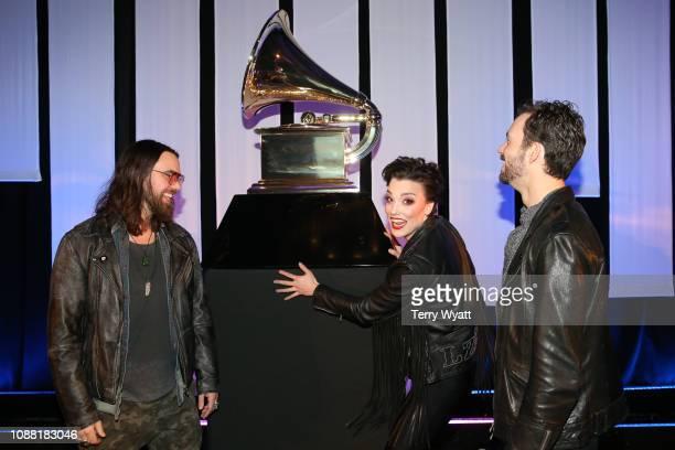 Grammy nominees Joe Hottinger Lzzy Hale and Arejay Hale of the band Halestorm attend the Nashville Chapter 61st Nominee Celebration on January 24...