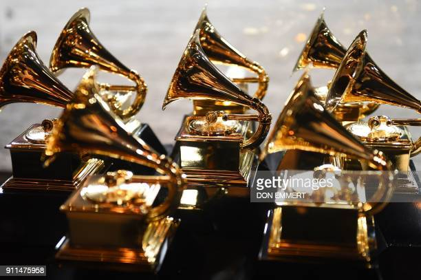 Grammy trophies sit in the press room during the 60th Annual Grammy Awards on January 28 in New York / AFP PHOTO / Don EMMERT