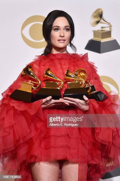 Grammy Winner Kacey Musgraves poses in the press room during the 61st Annual GRAMMY Awards at Staples Center on February 10, 2019 in Los Angeles,...