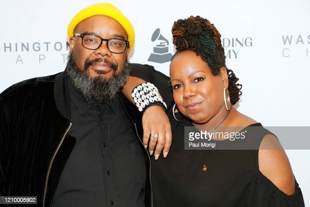 Grammys DC Chapter Board Member Kokayi and Michelle Shellers attend The Recording Academy Washington DC Chapter's Intersection of Music Sports event...