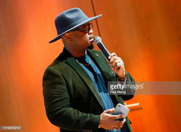 Grammys DC Chapter Executive Director Jeriel Johnson speaks at The Recording Academy Washington DC Chapter's Intersection of Music Sports event at...