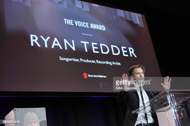Grammywinning Songwriter and Producer Ryan Tedder speaks onstage during the 5th Annual Save the Children Illumination Gala at the American Museum of...