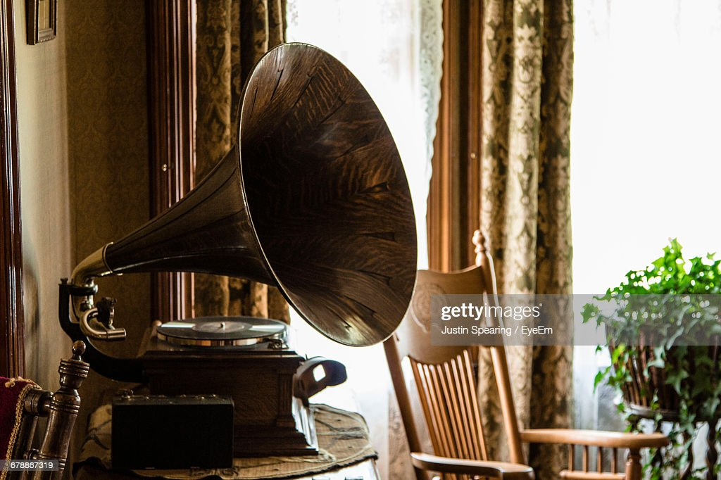 Gramophone On Table At Home : Stock Photo
