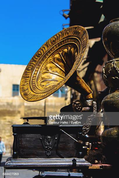 Gramophone Outdoors Against Blue Sky