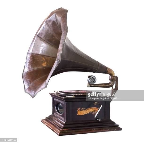 gramophone over white background - gramophone stock pictures, royalty-free photos & images
