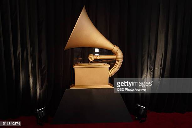 A gramophone prop is seen on the red carpet during THE 58TH ANNUAL GRAMMY AWARDS Monday Feb 15 2016 at STAPLES Center in Los Angeles and broadcast on...