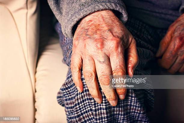 grampa's hand - hand on knee stock pictures, royalty-free photos & images