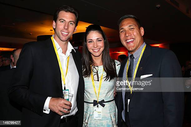 Gramt Hackett Giaan Rooney and Geoff Huegill attend the Australian Olympic Committee 2012 Olympic Games team flag bearer announcement at the...
