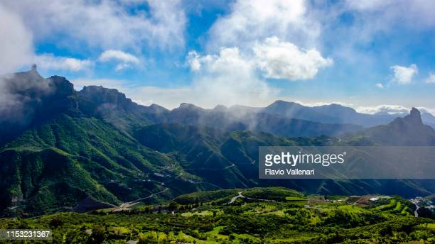 gran canaria, canary islands - mountain landscape with roque bentayga & roque nublo - march month stock pictures, royalty-free photos & images