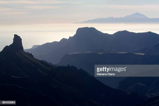 Gran Canaria Canary Islands View of teh Teide from Roque Nublo