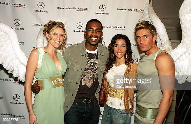 Gran Centenario Angels pose with Actor Bill Bellamy and his wife Kristen Bellamy at MercedesBenz Fashion Week at Smashbox Studios on October 18 2005...