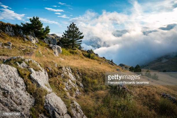 gran sasso national park, nature landscape and clouds with blue sky at sunset. abruzzo, italy - parco nazionale d'abruzzo foto e immagini stock