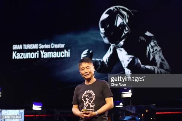 Gran Turismo Series Creator Kazunori Yamauchi speaks during the Gran Turismo Sport FIA 2019 World Tour event at Pavillon Gabriel on March 16 2019 in...