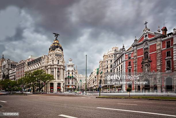 gran vía de madrid - madrid stock pictures, royalty-free photos & images