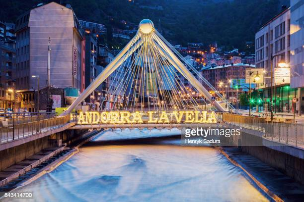 gran valira river and pont de paris in andorra la vella - andorra stock pictures, royalty-free photos & images