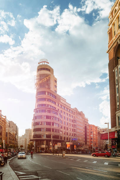 Gran Via de Madrid, with the Schweppes or Carrion building.