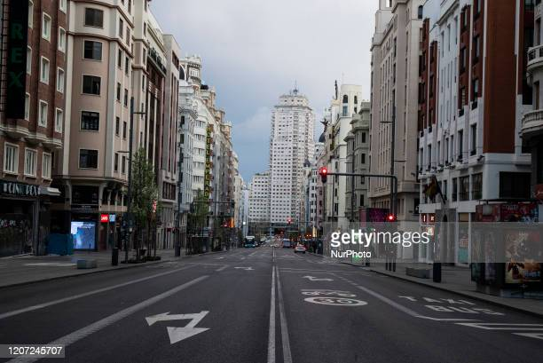 gran via is empty as the country works to stop the spread of the coronavirus on March 15 2020 in Madrid Spain The cases in Madrid are reportedly at...